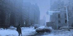 I've been playing the beta for The Division all day, so this was inevitable. It was really nice to do something urban for a change. My comfort zon. Sketch a day 051 Apocalypse World, Apocalypse Art, Baguio, Nuclear Winter, Post Apocalyptic Art, Environment Concept Art, Game Environment, Environment Design, Snow