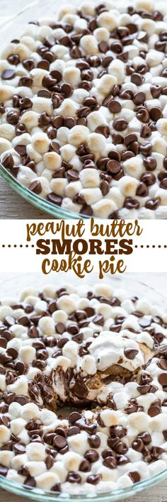 Peanut Butter Smores Cookie Pie - A peanut butter and graham cracker cookie underneath gooey marshmallows and melted chocolate!! You don't need a campfire for these easy and AMAZING smores! Grab a spoon and dig in!!