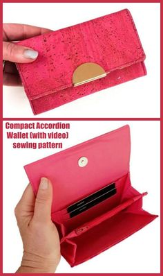 Compact Accordion Wallet (with video) sewing pattern. It's a fun and compact wallet with a wristlet strap, that makes a great smaller bag for smaller hands and quick getaways. Easy to sew DIY wallet pattern, small size. Easy wallet to sew for beginners. #SewModernBags #SewAWallet #WalletSewingPattern #SewAWristlet #WristletSewingPattern #SewABag #BagSewingPattern