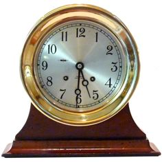 """Presented is an outstanding example of the finest striking bell clock made. The design, named the CHELSEA, was originally introduced by the maker in 1897. This fine working clock was designed to offer superior quality in a convenient moderate size package with a 6"""" face and weighing 11 pounds. With 364 precision machined brass parts, many of which are gold plated, and its eleven jewel movement, it personifies Chelsea's reputation for engineering and manufacturing excellence, borne out by its…"""