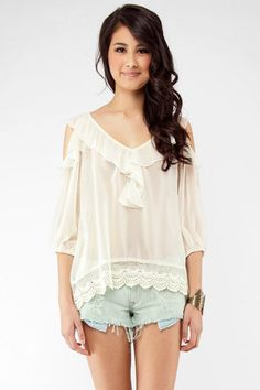 No Turning Back Tie Top in Cream $38 at www.tobi.com... love this top, love this new-found website