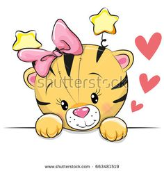 Illustration about Cute Cartoon Tiger with hearts on a white background. Illustration of animals, baby, luck - 94756372 Cartoon Cartoon, Cartoon Tiger, Kids Cartoon Characters, Cute Cartoon Animals, Cute Animals, Cute Images, Cute Pictures, Tiger Vector, Cartoon Chicken