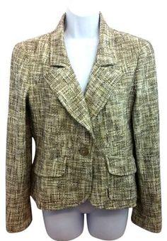 Chanel One Button Cotton Blend Woven Jacket 42 Blazer - 70% Off Retail - Tradesy