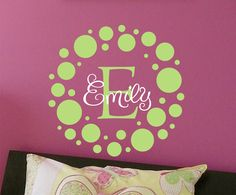 Faith.......Polka Dot Childrens Wall Decal Monogram Vinyl Decal- Vinyl Lettering Wall Art - Nursery of teen girl's bedroom. $20.00, via Etsy.