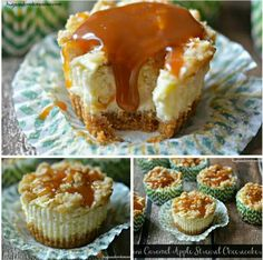 Mini Caramel Apple Streusel Cheeecakes
