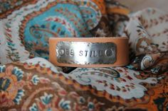Customizable Tan Leather Cuff Bracelet Stamped by PurelyPoiema, $32.50