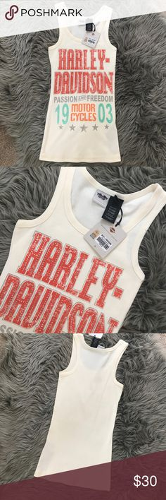 NWT!!! Harley Davidson Tank Top New with tags! Harley Davidson Tank top! Size Medium! Cream color, vintage style with rhinestones. Harley-Davidson Tops Tank Tops