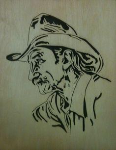 Old Cowboy Scrollsaw Fretwork Portrait Cutting