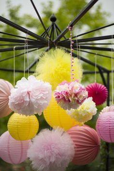 Sweet and Sunny Lemonade 10th Birthday Party- Lovely hanging decos