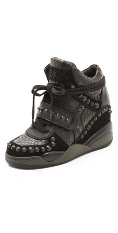 d6e7832e9e4a Ash Fancy Studded Wedge Sneakers Black Wedge Sneakers