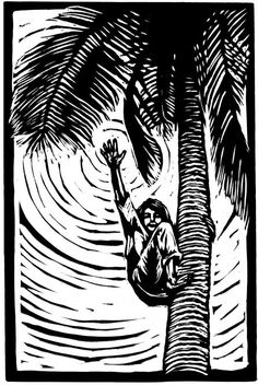 Palm Tree High Five block print by Finches on Etsy