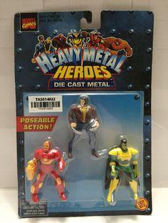 (TAS014032) - 1999 Marvel Comics Heavy Metal Heroes Die Cast Metal 3-pk