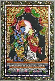 Radha Krishna - The Divine Lovers - Folk Art Paintings (Orissa Pattachitra Painting on Patti - Unframed) Krishna Painting, Madhubani Painting, Krishna Art, Radhe Krishna, Hanuman, Lord Krishna, Art Painting Gallery, Mural Painting, Mural Art