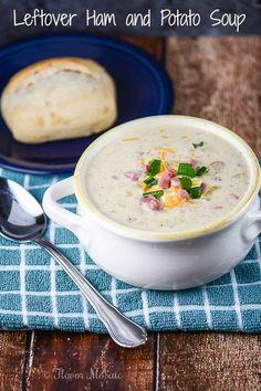 Potato Recipes, Soup Recipes, Dinner Recipes, Cooking Recipes, Yummy Recipes, Dinner Ideas, Leftover Potatoes, Leftover Ham Recipes, Leftovers Recipes