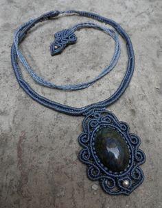 Manto-Huichol Obsidian - Macrame necklace & 925 Silver beads (Blue) - stone size approx. 3.4/2.1
