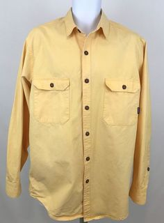 Men's Patagonia Long Sleeve Button Front Shirt Size L 100% Cotton Yellow  #Patagonia #ButtonFront