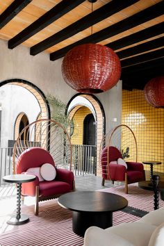 """Mexico City's AG Studio has turned a colonial house in San Miguel De Allende, Mexico into a boutique hotel featuring tiled archways and yellow walls that look like a """"large corn cob"""". Yellow Tile, Yellow Walls, Home Interior, Interior Design, Lobby Interior, Mug Design, Mexican Crafts, Inspiration Design, Design Ideas"""