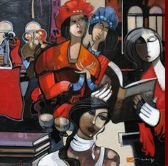 Noite literária Jean-Louis Mendrisse (França, 1955) óleo sobre tela, 100 x 100 cm