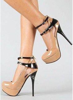 Stylish Contrast Colour PU Ankle Strap Platform Shoes