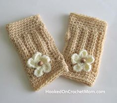 Texting Fingerless Gloves with Flower and Beads, Wrist Warmers, Arm Warmers, Beige Color Crocheted Handmade #crochet #boot toppers #boot cuffs $14.95