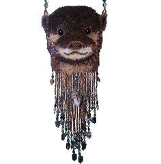 Beaded Otter Necklace. $700.00, via Etsy.