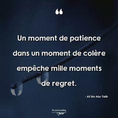 Un moment de patience dans un moment de colère empêche mille moments de regrets. – Ali Ibn Abu Talib .