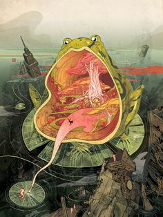 """Utopia by Victo Ngai - this is such an incredible image, the more you look at it the more details you see embedded in it. The brightness of the frog is reflected in the little people and the sky to create a visual balance between the foreground and the background. Very creative and interesting."" Lilly Partridge"