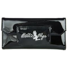 Sourpuss Bettie Page Retro Clutch Purse Black   Wallet