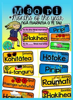 Add some colour to your wall display with these awesome and cheap interchangeable Māori months and seasons of the year - simply cut out and laminate before letting your students change the word cards for you! Ngā marama o te tau (months of the year) Seasons Of The Year, Months In A Year, Maori Songs, Waitangi Day, Maori Symbols, Science Room, Classroom Expectations, Becoming A Teacher, Library Programs