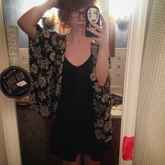 Floral Kimono/Shawl Brandy Melville Black/Off-white floral kimono/shawl, one size from brandy melville. Super cute, I'm a size S/M and it fits nice and oversized  Brandy Melville Other