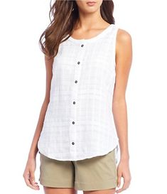 Columbia Summer Ease Sleeveless Button Front Shirt - S Dressy Tops, Casual Dressy, Womens Sleeveless Tops, Sleeveless Shirt, Summer Outfits Women, Clothes For Women, Cotton Tops For Jeans, Summer Wear, Summer Wardrobe