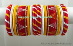 Yaalz Assorted Bangle Set In Red, Golden Yellow & White Colors ! Price For Orders Ping us In WhatsApp 8754032250 Silk Thread Bangles Design, Silk Thread Necklace, Silk Bangles, Thread Jewellery, Handmade Jewellery, Indiana, Hand Work Blouse Design, Crochet Headband Pattern, Hand Embroidery Tutorial