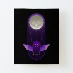 'Barry The Bat Swings From Skull Moon' Canvas Mounted Print by LunchboxPrint Canvas Prints, Art Prints, Off The Wall, Sell Your Art, Wood Grain, Print Design, Whimsical, My Arts, Skull