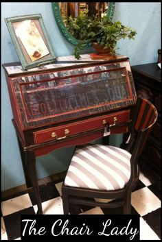 New York themed antique secretary and chair