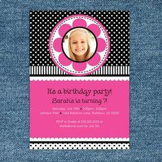 Hot Pink and Black Polka Dots Printable Birthday Invitation. $10.00, via Etsy.