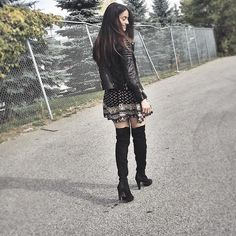 Get this look: http://lb.nu/look/8446883  More looks by Lena Antonacci: http://lb.nu/lenaantonacci  Items in this look:  All Saints Leather Biker Jacket, Aldo Over The Knee Boots, Ardene Printed Dress   #bohemian #edgy #romantic