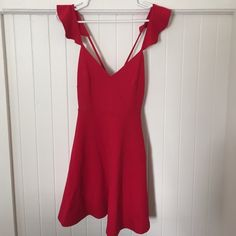 Lulu's Red Dress Lulu's short red dress. Ruffle detail on straps. Perfect condition, no visible wear & tear. Beautiful deep red color. Make me an offer  Lulu's Dresses Mini
