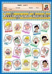 English teaching worksheets: Feelings