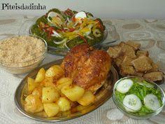 Piteisdadinha: PEITO DE FRANGO ASSADO  com batatas, farofa e sala...