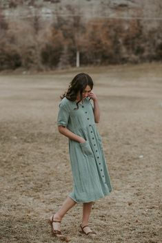 Button Down Dress Pale Olive