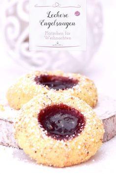 Biscoitos de olhos de anjo para o Natal - Rezepte: Kekse, Plätzchen, Cookies & Pralinen - Easy Cookie Recipes, Cake Recipes, Dessert Recipes, Fancy Recipes, Food Cakes, Cookies Et Biscuits, Cake Cookies, Angel Cookies, Cream Cookies