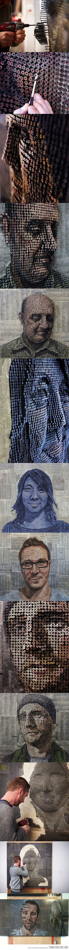 3D Portrait made with screws. The amount of detail, drive, and planning that had to go into each one of these pictures is astounding...