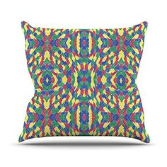 KESS InHouse CR1013AOP03 18 x 18-Inch 'Empire Ruhl Energy Abstract Pattern' Outdoor Throw Cushion - Multi-Colour