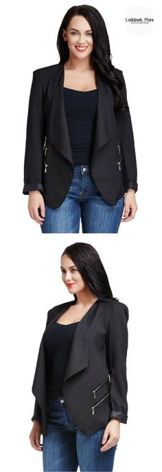 Plus Style // Look sharp and smart fashionista in this black padded-shoulder draped blazer.