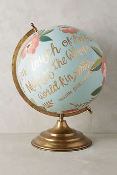 Anthropologie - Handpainted Wanderlust Globe