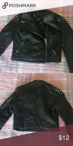 Wet Seal pleather jacket Faux leather jacket with studs on collar and shoulders. Long sleeved,  3 front pockets, and zipper front closure in excellent condition. Wet Seal Jackets & Coats