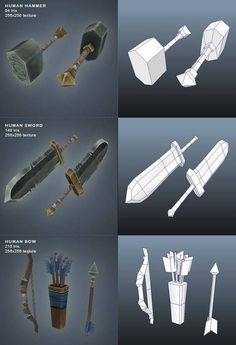 Low Poly Weapons Weapon Concept Art, Game Concept Art, Prop Design, Game Design, Unity 3d, Polygon Modeling, 3d Modeling, Modelos Low Poly, Zbrush