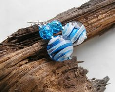 Nautical earrings in blue & white, $18.90