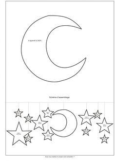 Pas besoin d'aiguilles à tricoter pour réaliser ce joli mobile poétique. Avec ces étoiles et lunes toutes douces, ce mobile céleste en laine invite les enfants au rêve.  Dimensions ...