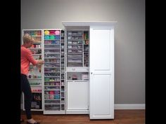 Famous WorkBox Opening in Real Time Craft Storage Cabinets, Craft Cabinet, Sewing Cabinet, Art Storage, Craft Room Storage, Storage Bins, Room Organization, Tall Cabinet Storage, Locker Crafts